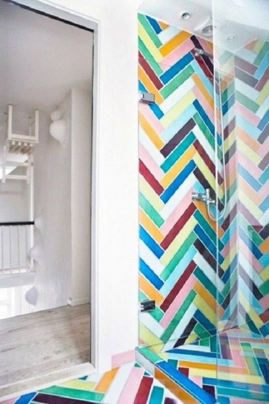 baño multicolor decoracion moderno mural