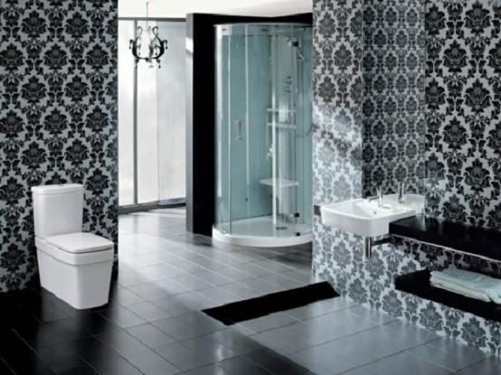 baños modernos colorido diseño oscuro