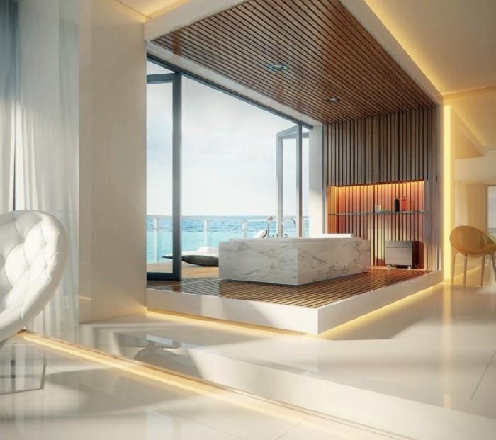 baños modernos de lujo bañera plataforma luminarias