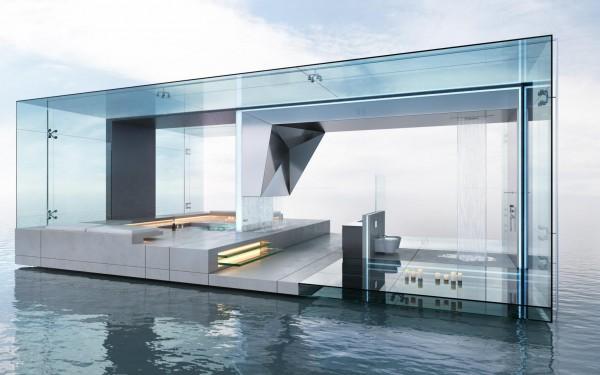 baños modernos de lujo cristales piscina