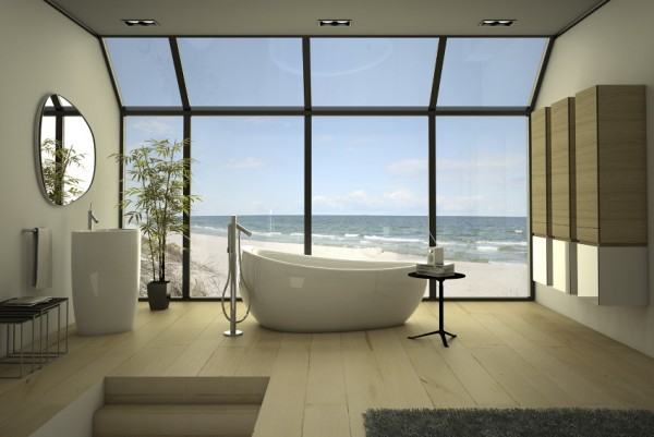 Baño Vista En Planta:Baños modernos de lujo, todo un spa en el hogar