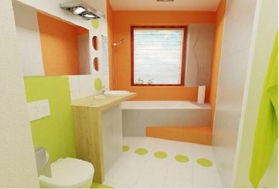baños modernos iluminacion naranja blanco