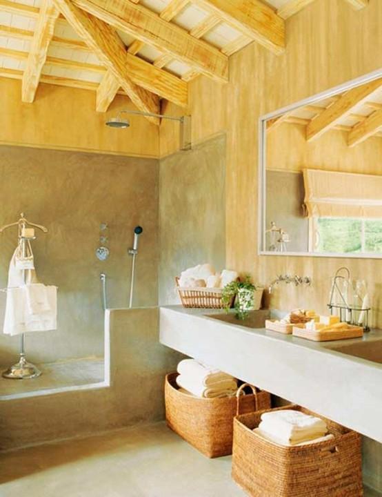 baños rústicos madera espejo mimbre toallero