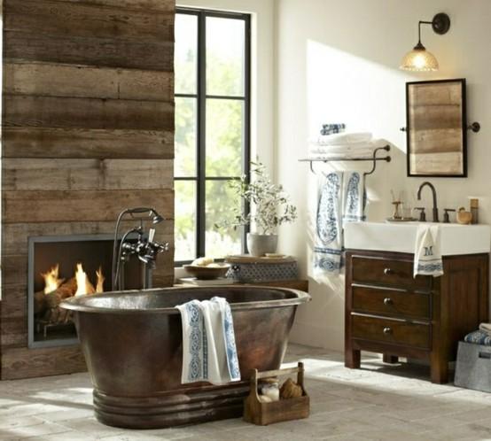 baños rústicos madera piedra ventanas iluminacion