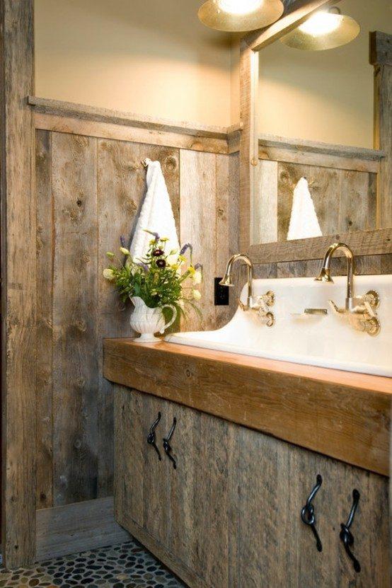 baños rústicos pequeños decoracion madera metal