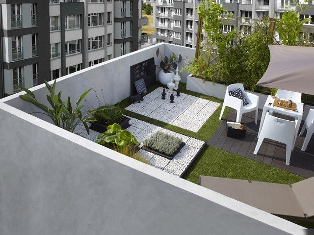balcon alto moderno jardin mobiliario