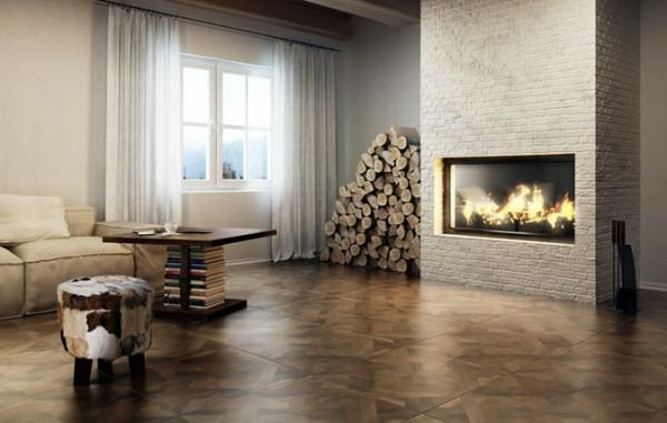 baldosas grandes salon moderno chimenea