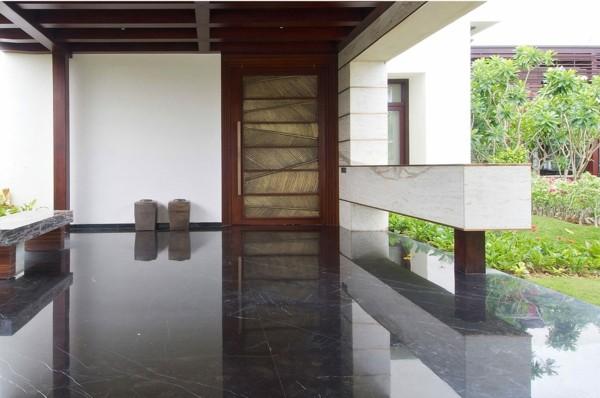 baldosas marmol pulidas negras terraza