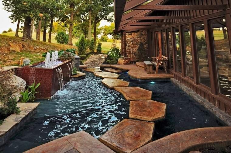 baldosas piscina estanque jardín moderno