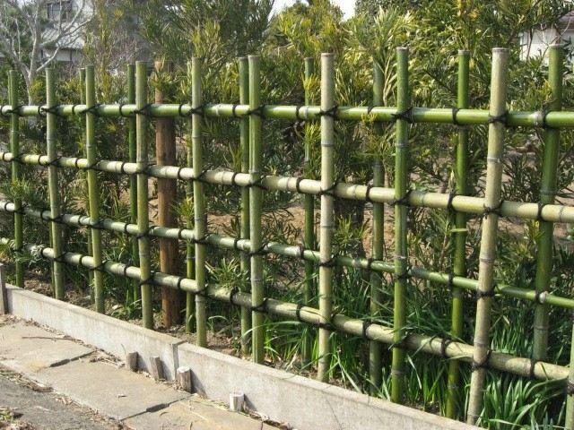 bambu cercado patio anudado valla