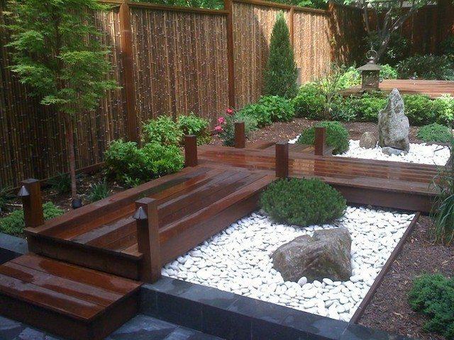 bambu cercado patio jardin japones rocas