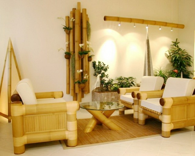 bambú muebles decoracion mesita butacas cristal
