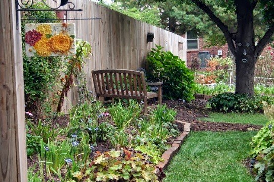 banco jardin adoquines muebles plantas