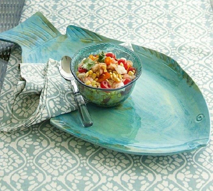 bandeja melamina forma pez ensaladera