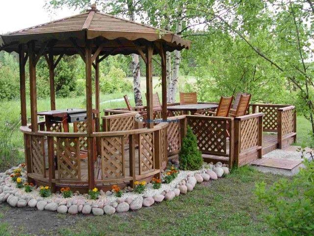 barbacoa bajo pergola idea genial jardin redonda