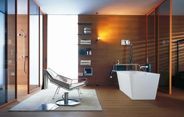 baño moderno laminado madera sillón