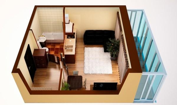 Planos de casas y apartamentos en 3 dimensiones for Apartaestudios pequenos