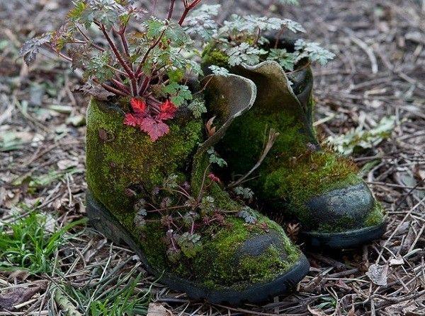 botas macetas jardin plantas decoracion