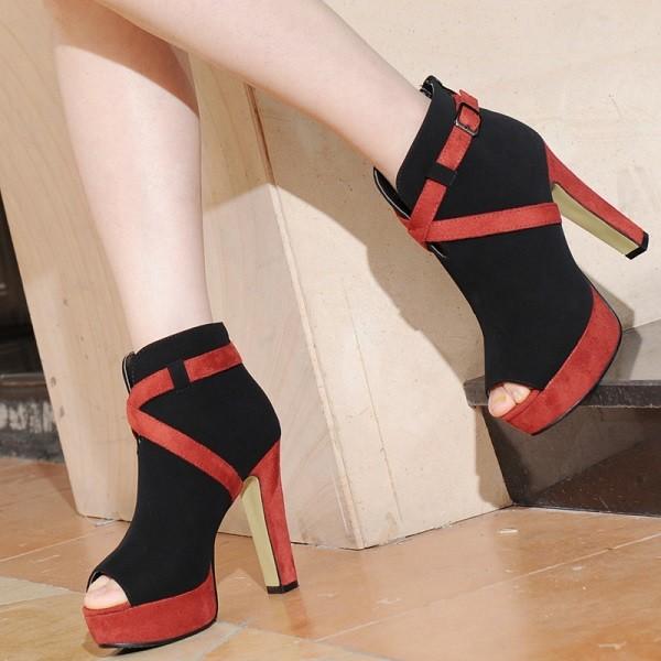 botas dedos rojo negro recortados