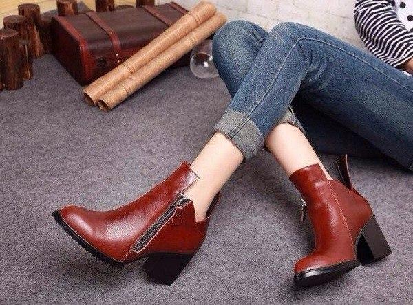 botines elegantes piel marron tacón
