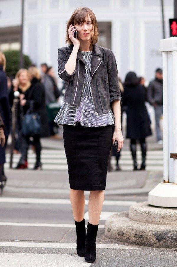 botines mujer falda negra calle