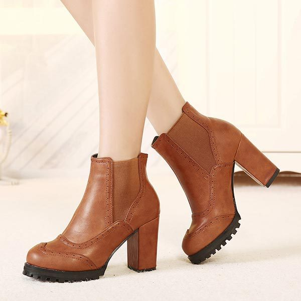 botas piel marrón plataforma