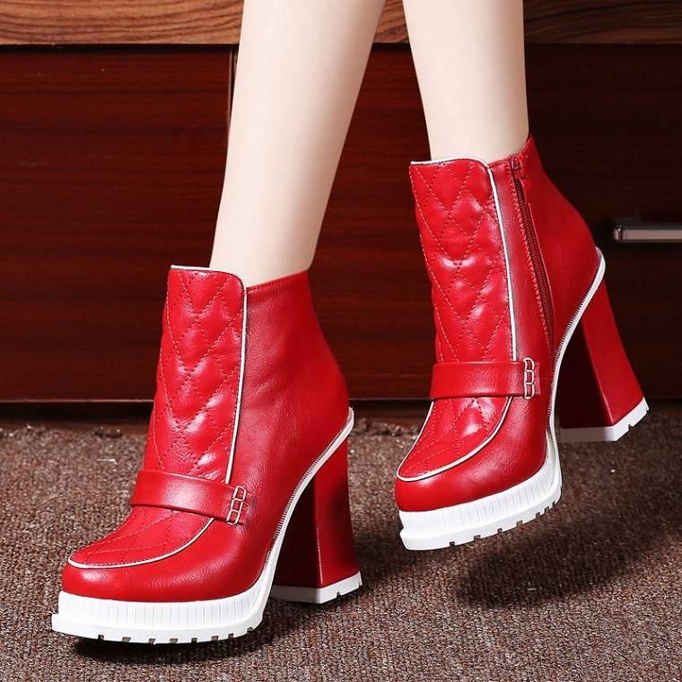 botines rojos estilo retro plataforma