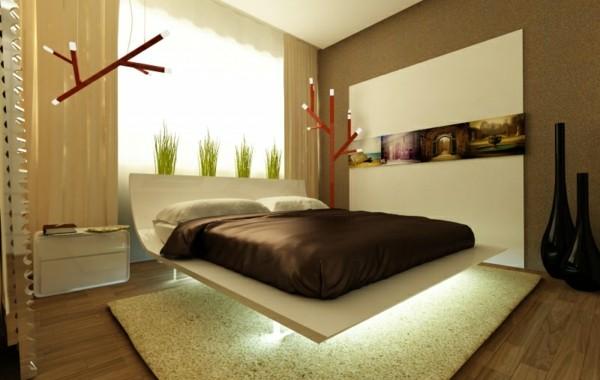 cama dormitorio luz debajo moderna