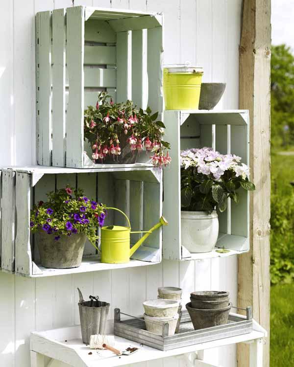 cajas madera contenedores decoracion jardin