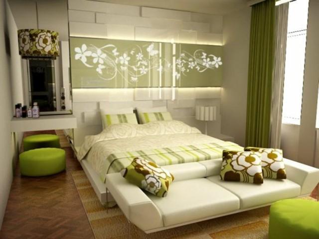 calido contraste verde taburetes madera