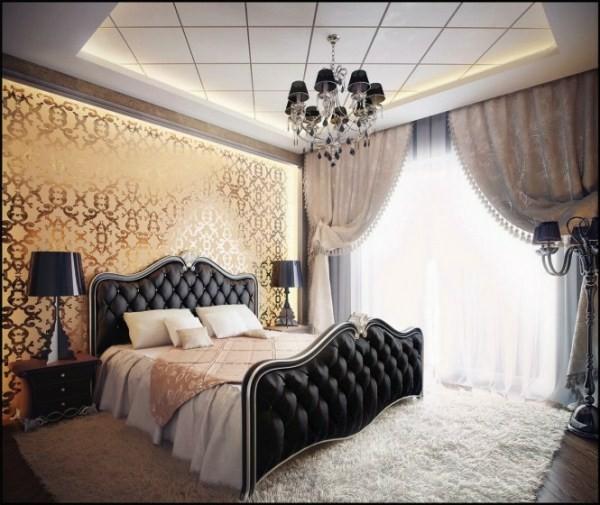 cama acolchado capitoné negro cabecero