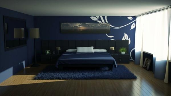 cama azul marino oscuro alfombra