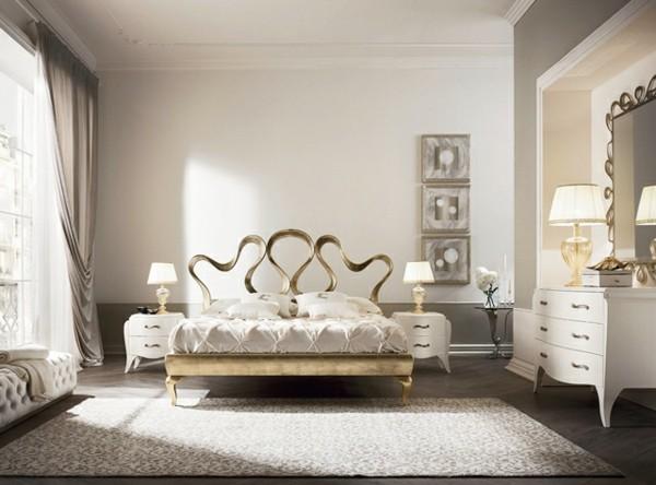 cama cabecero dorado formas abstractas