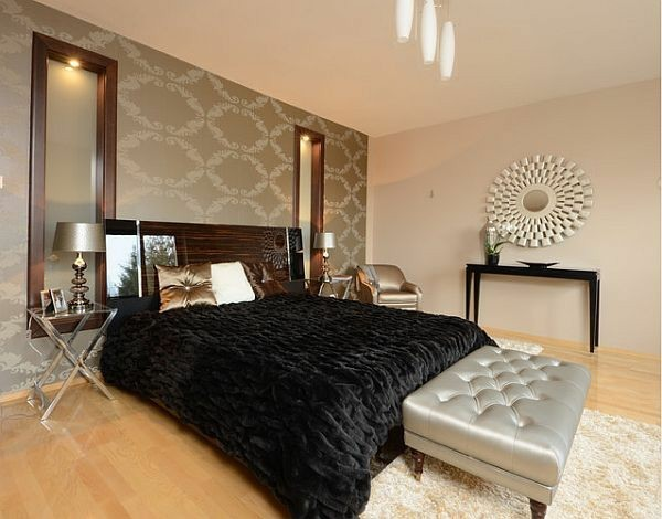 cama colcha terciopelo negro papel pared