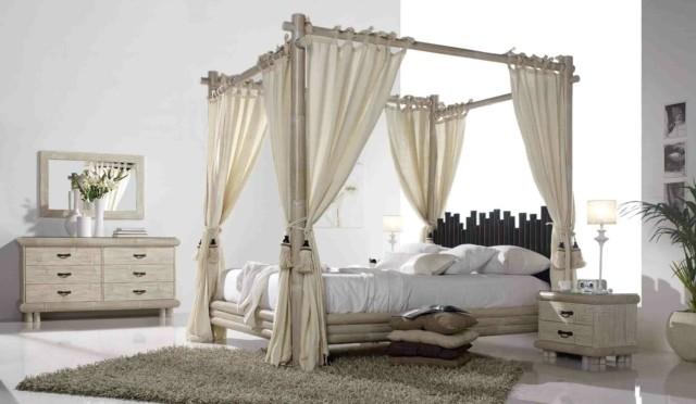 cama dosel bambu original innovador idea dormitorio