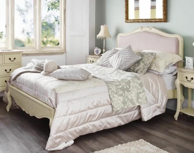 shaby chic cama espaledera colores champaña luminoso muebles