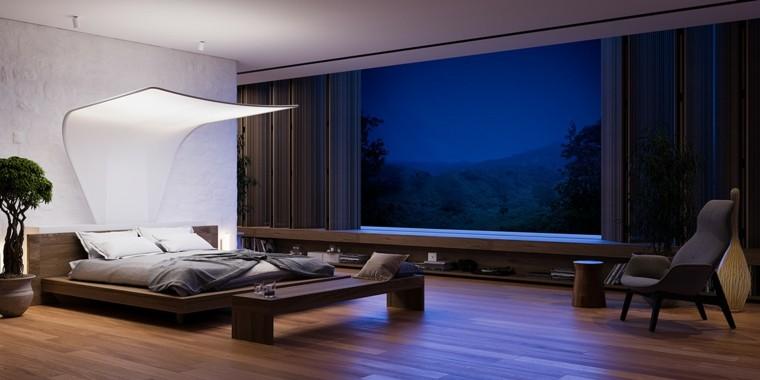 cama-grande-techo-lámpara