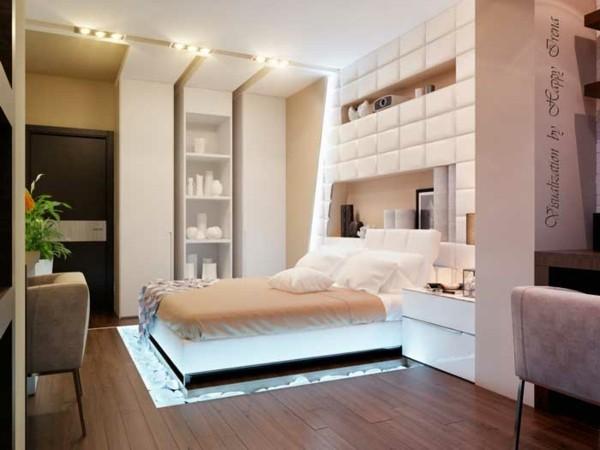 cama iluminada piedras debajo minimalista