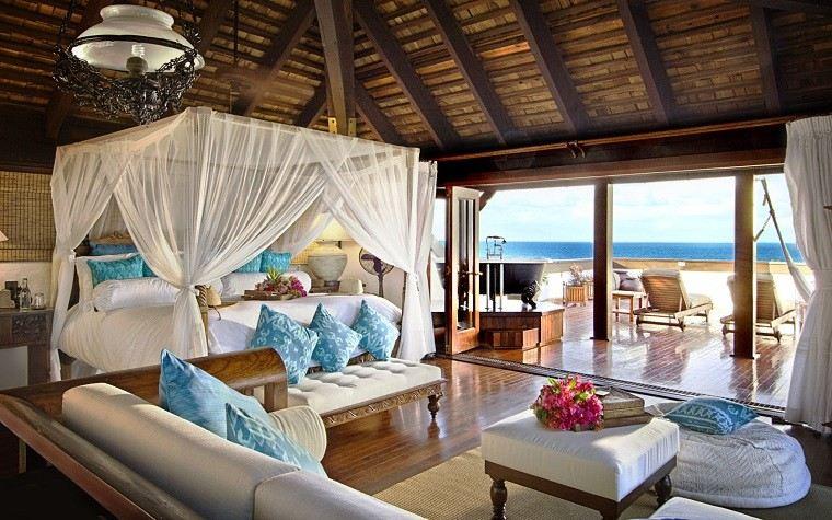 cama maravillosa moderna dosel cojines azu -bonito