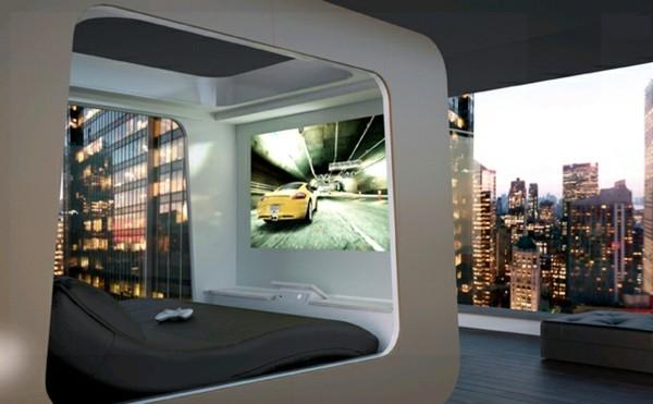cama moderna futurista televisión
