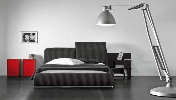 cama moderna rayas clásicas lámpara