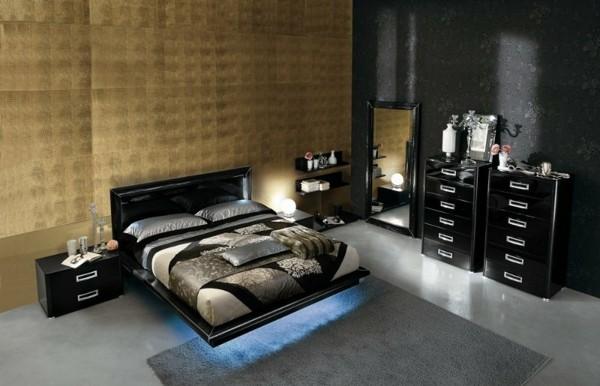 cama negra iluminada moderna cómoda