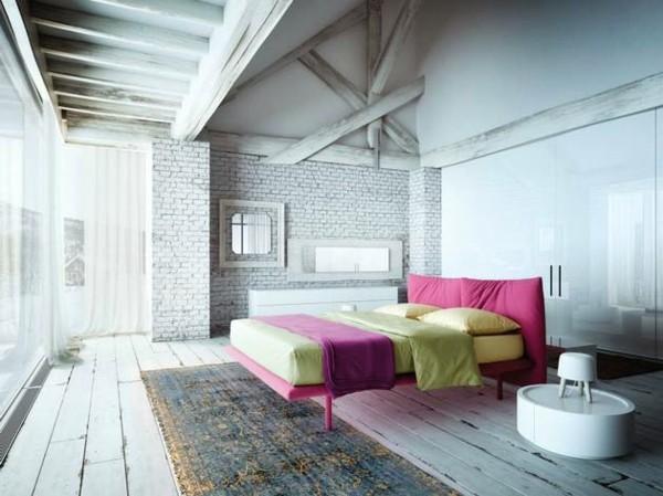 cama rosa fucsia amarillo blanco