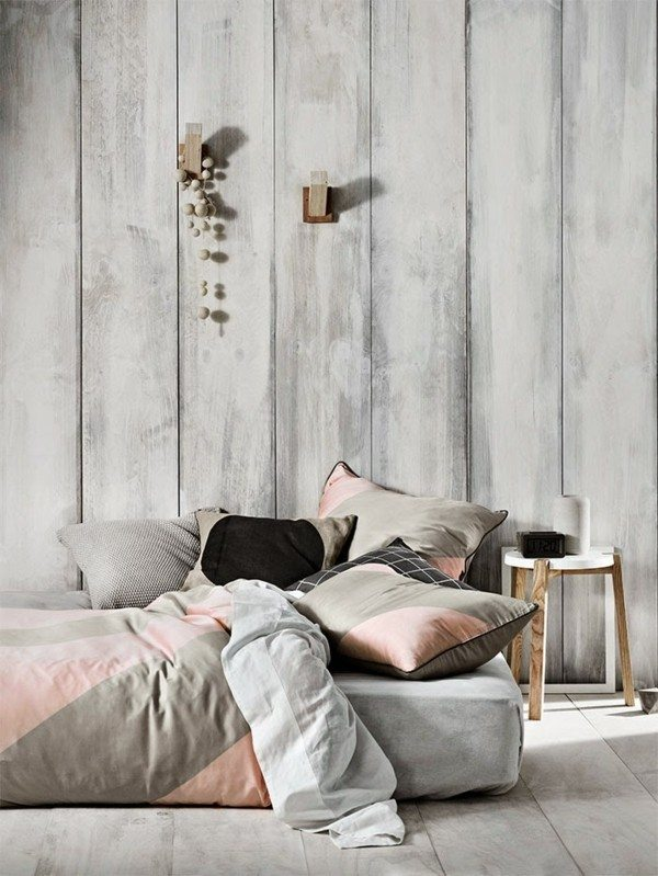 cama moderna gris rosa taburete