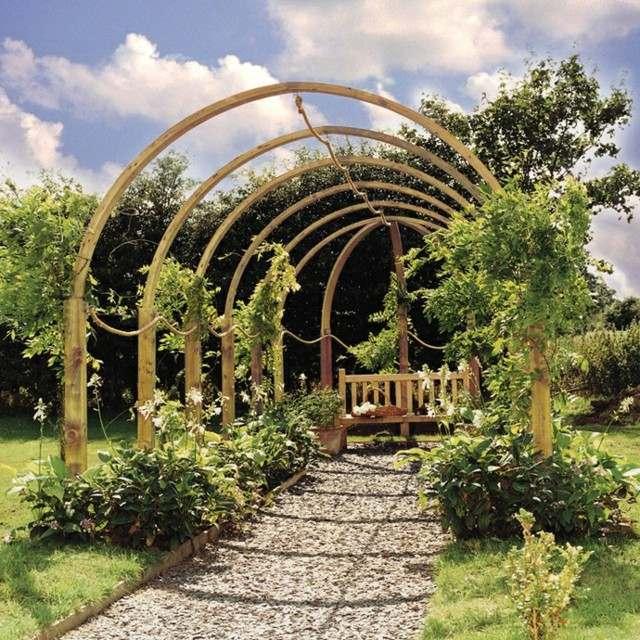 pérgola pasillo jardin banco lugar descanso
