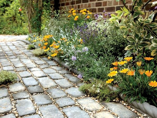 camino hecho adoquines rectangulares plantas