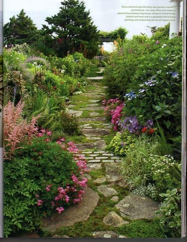 camino partes distintas césped flores