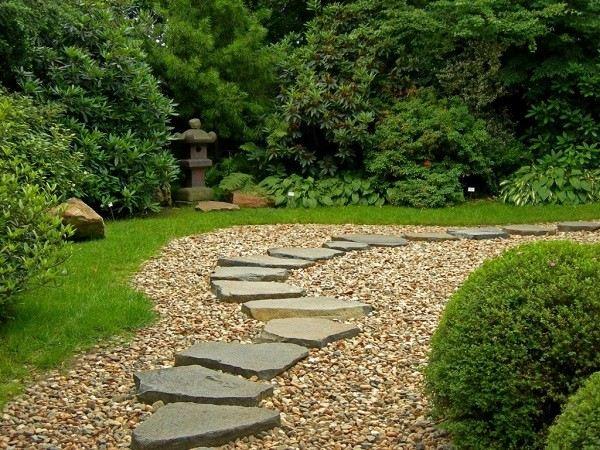 camino piedras planas guijarros plantas