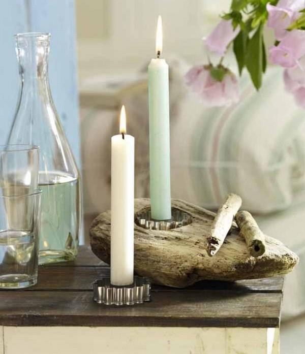 candelabro madera flotante rustico portavelas