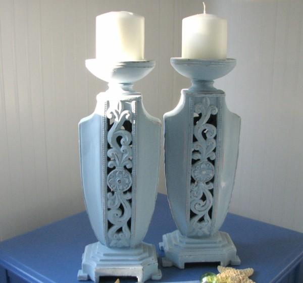 candelabros color celeste shabby chic